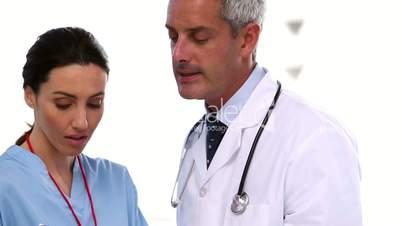 Team of medical people speaking together