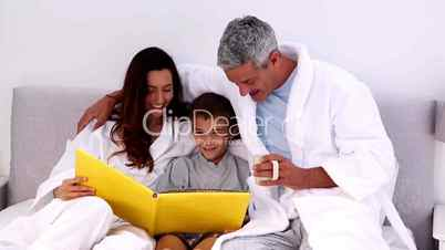 Parents and their son reading book