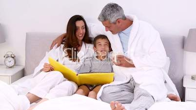 Parents and their son reading story
