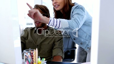 Creative woman explaining something