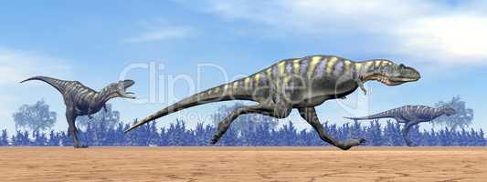 Aucasaurus dinosaurs running - 3D render