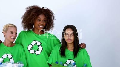 Women wearing green ecologic t-shirt