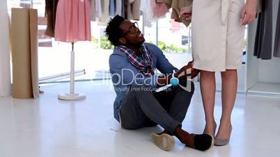 Fashion designer working on a bespoke dress