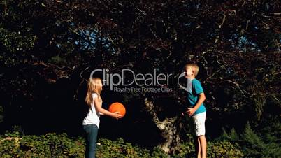 Siblings having fun with a basketball on a trampoline