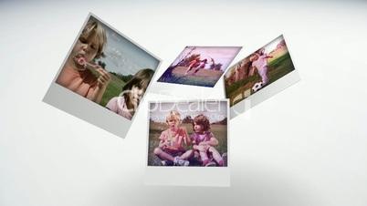 Instant photos of children having fun in a park