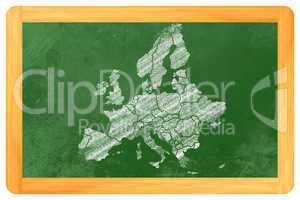 Europa mit ländern als Zeichnung an einer Tafel - Europe with c