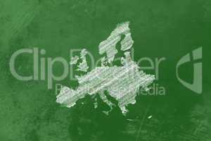 Europa als Zeichnung an einer Tafel - Europe drawn on a blackboa