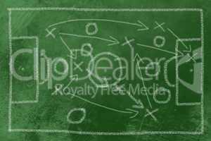 Fußball Taktik Kreide auf Tafel - Soccer tactics chalk on black