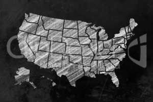 USA mit Bundesstaaten auf einer Tafel - USA with states on a bla