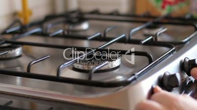 Flame cooker in the kitchen