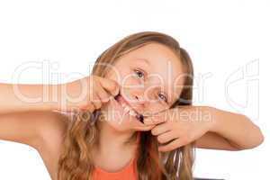 Happy girl make a grimace