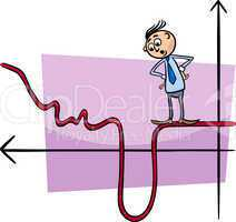 businessman on graph curve cartoon