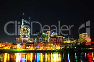 downtown nashville cityscape in the night