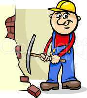 worker with pick cartoon illustration