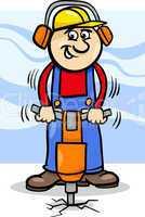 worker with pneumatic hammer cartoon