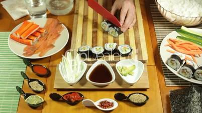 Sushi rolls cut