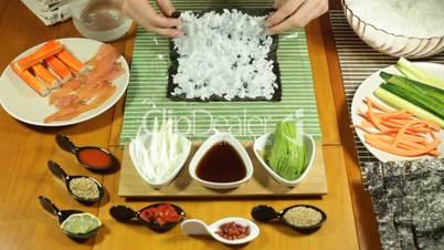 Preparing Uramaki Sushi