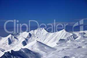 snow plateau and blue sky