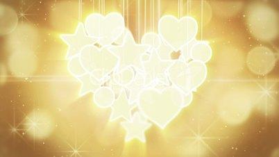 gold heart shape concept loop background luma matte