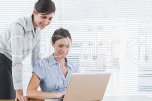 Businesswomen looking at a laptop