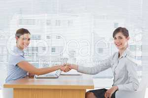 Businesswoman shaking hands with interviewee and both smiling at