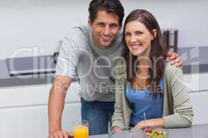 Couple sitting in the kitchen