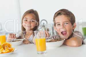 Siblings eating cereal together
