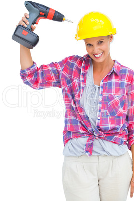 Funny handy woman with her power drill