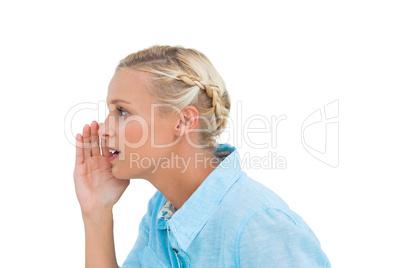 Attractive blonde speaking to someone