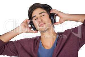 Man using headphones to listen music