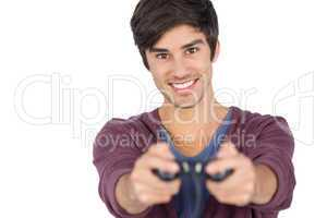 Cheerful man playing video games
