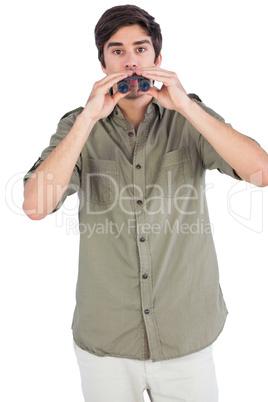 Man surprised with binoculars