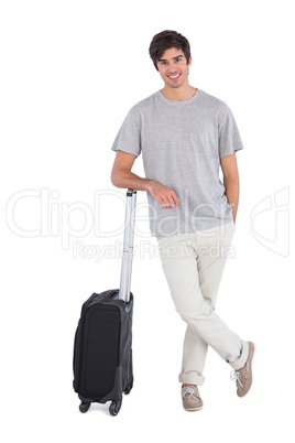 Standing man with his suitcase