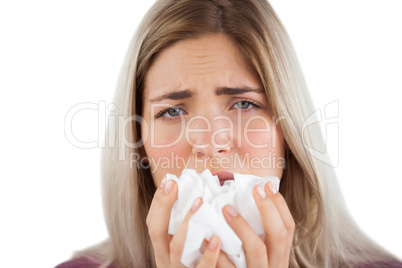 Tired woman having a flu