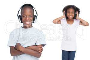 Kids listening to music with headphones
