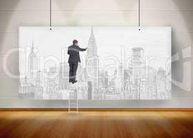 Businessman standing on ladder and drawing a city on a poster hu