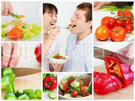 Collage of couple eating vegetables