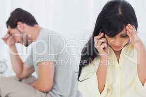 Woman calling during dispute