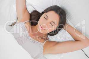 Overview of a pretty woman napping