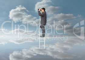Elegant businessman standing on ladder with binoculars