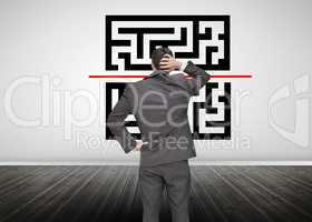 Businessman looking at qr code