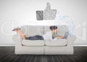 Hand representing social network logo