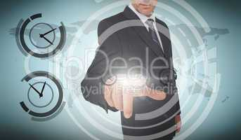 Businessman selecting a screen with dials around him