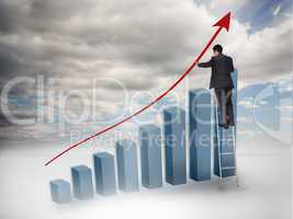 Businessman drawing a red arrow over a growing chart