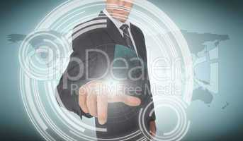 Businessman selecting a futuristic dial