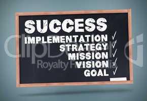 Success terms written on a chalkboard