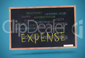 Expense written in yellow with a chalk