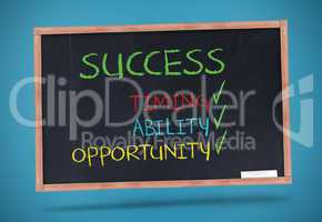 Success terms written with a colored chalk