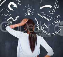Rear view of a woman having an idea