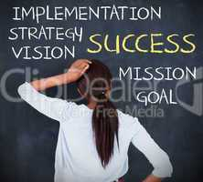 Rear view of a woman looking at success terms